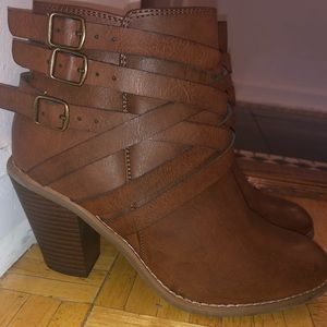 Brown Leather Booties - Restricted Size 8.5